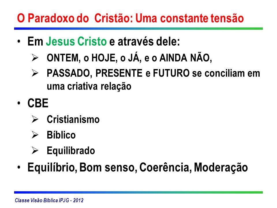 Classe Visão Bíblica IPJG - 2012 O Paradoxo do Cristão: Uma constante tensão Em Jesus Cristo e através dele: ONTEM, o HOJE, o JÁ, e o AINDA NÃO, PASSA