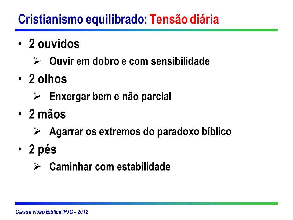 Classe Visão Bíblica IPJG - 2012 Cristianismo equilibrado: Tensão diária 2 ouvidos Ouvir em dobro e com sensibilidade 2 olhos Enxergar bem e não parci