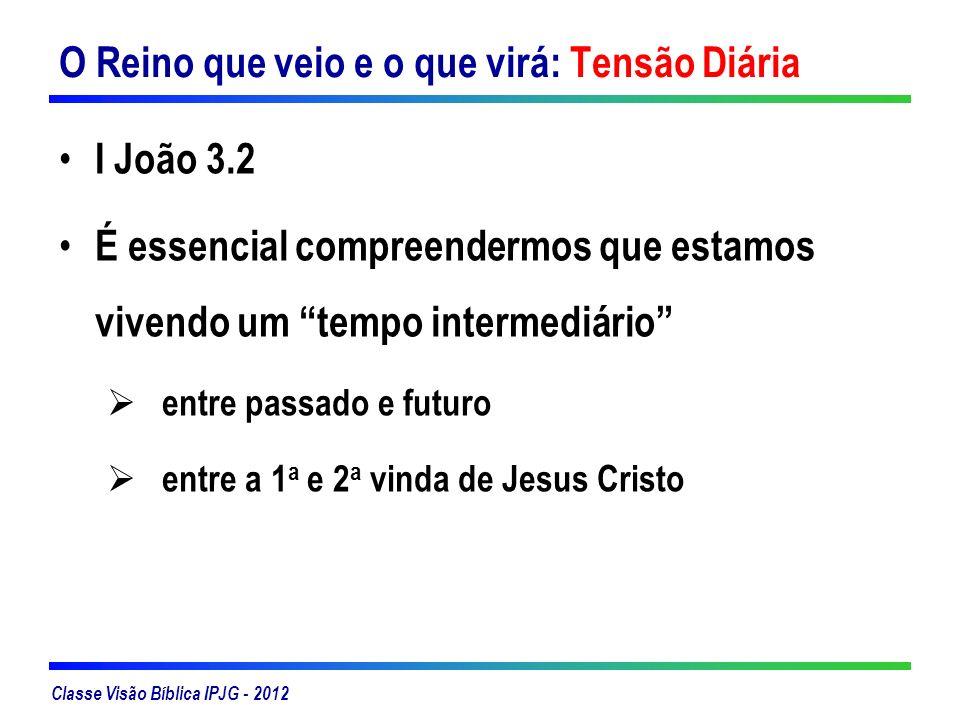 Classe Visão Bíblica IPJG - 2012 O Reino que veio e o que virá: Tensão Diária I João 3.2 É essencial compreendermos que estamos vivendo um tempo inter