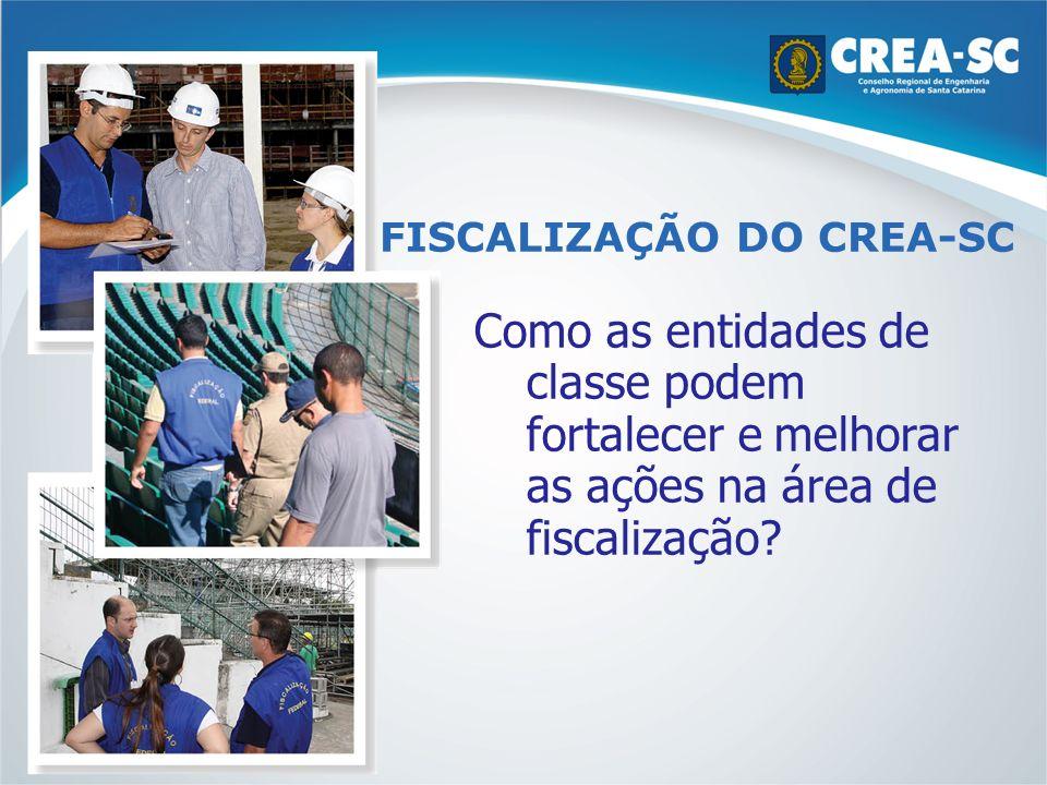 FISCALIZAÇÃO DO CREA-SC Como as entidades de classe podem fortalecer e melhorar as ações na área de fiscalização?