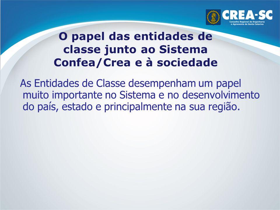 O papel das entidades de classe junto ao Sistema Confea/Crea e à sociedade As Entidades de Classe desempenham um papel muito importante no Sistema e n