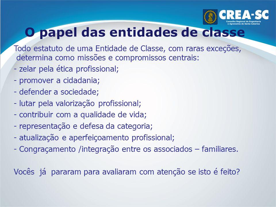 O papel das entidades de classe Todo estatuto de uma Entidade de Classe, com raras exceções, determina como missões e compromissos centrais: - zelar p