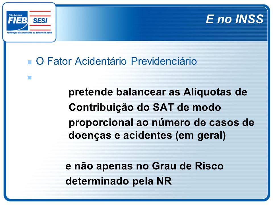 E no INSS O Fator Acidentário Previdenciário pretende balancear as Alíquotas de Contribuição do SAT de modo proporcional ao número de casos de doenças