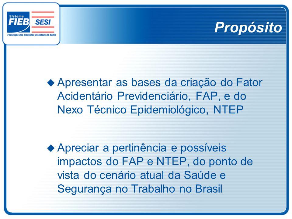 Propósito Apresentar as bases da criação do Fator Acidentário Previdenciário, FAP, e do Nexo Técnico Epidemiológico, NTEP Apreciar a pertinência e pos