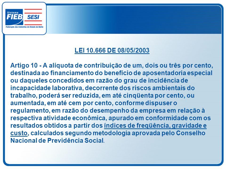 LEI 10.666 DE 08/05/2003 Artigo 10 - A alíquota de contribuição de um, dois ou três por cento, destinada ao financiamento do benefício de aposentadori