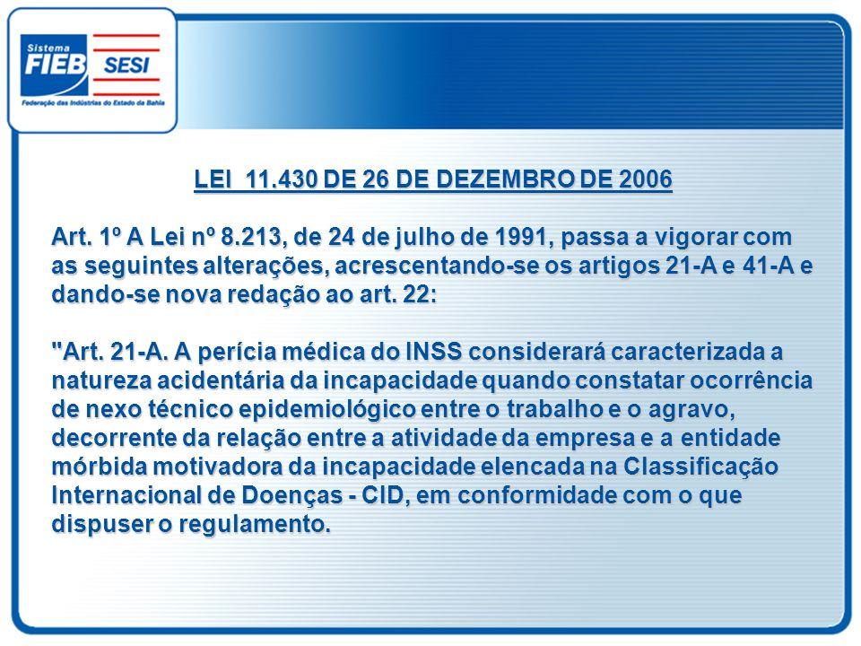 LEI 11.430 DE 26 DE DEZEMBRO DE 2006 Art. 1º A Lei nº 8.213, de 24 de julho de 1991, passa a vigorar com as seguintes alterações, acrescentando-se os