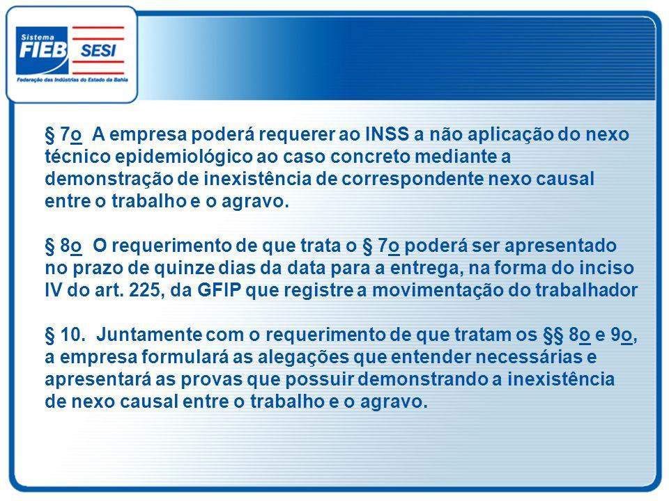 § 7o A empresa poderá requerer ao INSS a não aplicação do nexo técnico epidemiológico ao caso concreto mediante a demonstração de inexistência de corr