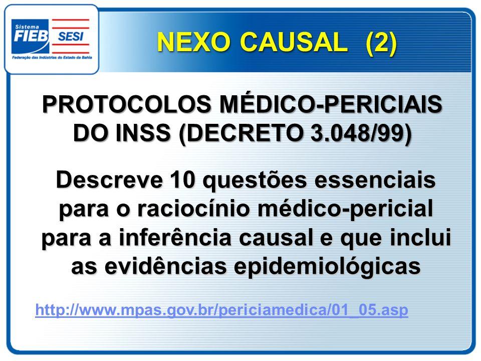 Descreve 10 questões essenciais para o raciocínio médico-pericial para a inferência causal e que inclui as evidências epidemiológicas PROTOCOLOS MÉDIC