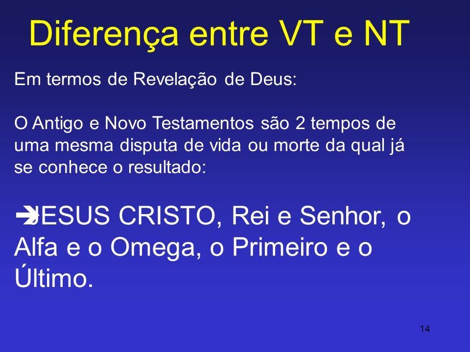 14 Diferença entre VT e NT Em termos de Revelação de Deus: O Antigo e Novo Testamentos são 2 tempos de uma mesma disputa de vida ou morte da qual já s