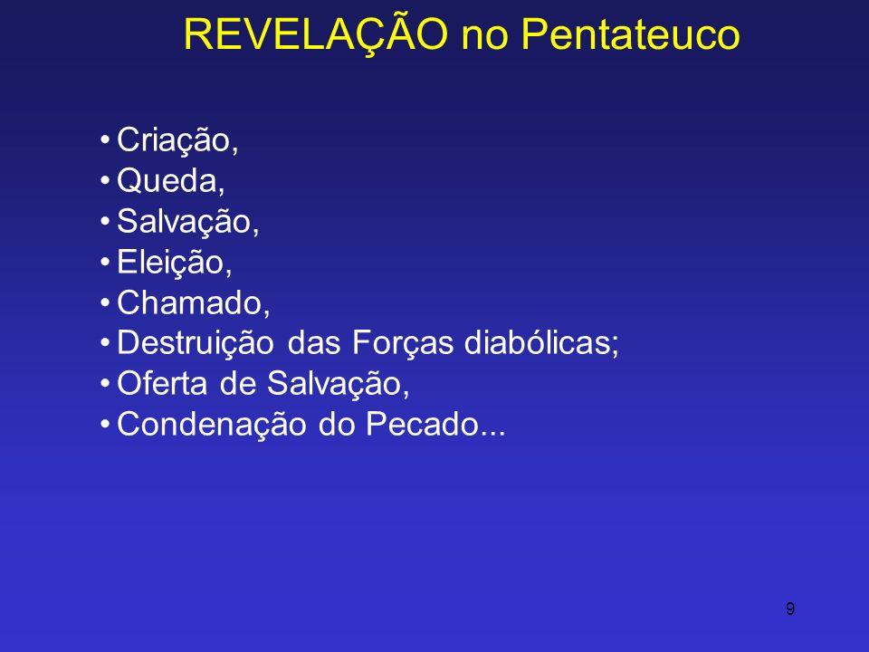 9 REVELAÇÃO no Pentateuco Criação, Queda, Salvação, Eleição, Chamado, Destruição das Forças diabólicas; Oferta de Salvação, Condenação do Pecado...