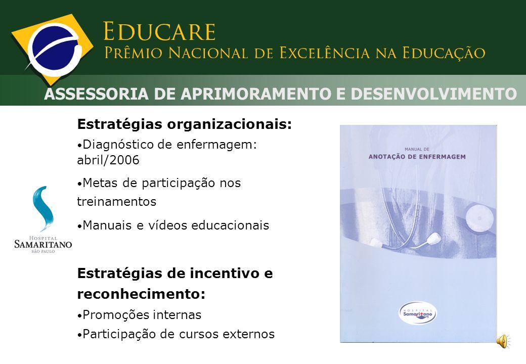 ASSESSORIA DE APRIMORAMENTO E DESENVOLVIMENTO Estratégias educativas: Levantamento de necessidade de treinamento Descentralização do processo educacio