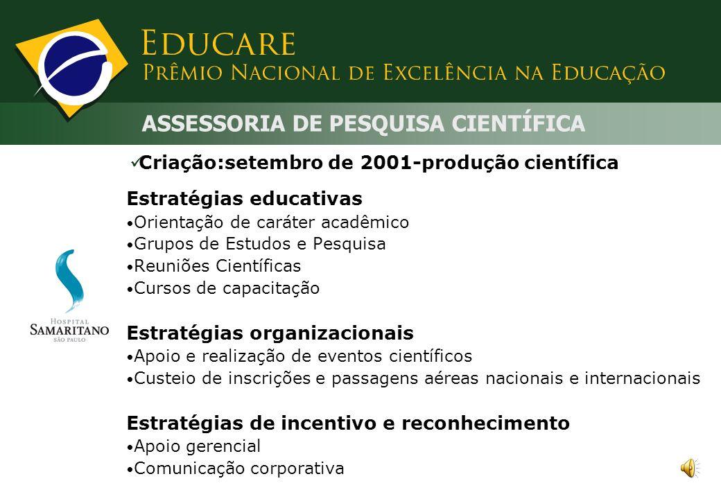 Estratégias organizacionais: Diagnóstico de enfermagem: abril/2006 Metas de participação nos treinamentos Manuais e vídeos educacionais Estratégias de