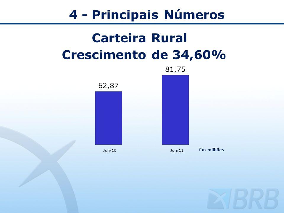 4 - Principais Números Carteira Rural Crescimento de 34,60% Jun/10Jun/11 Em milhões