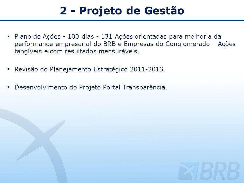 2 - Projeto de Gestão Plano de Ações - 100 dias - 131 Ações orientadas para melhoria da performance empresarial do BRB e Empresas do Conglomerado – Aç