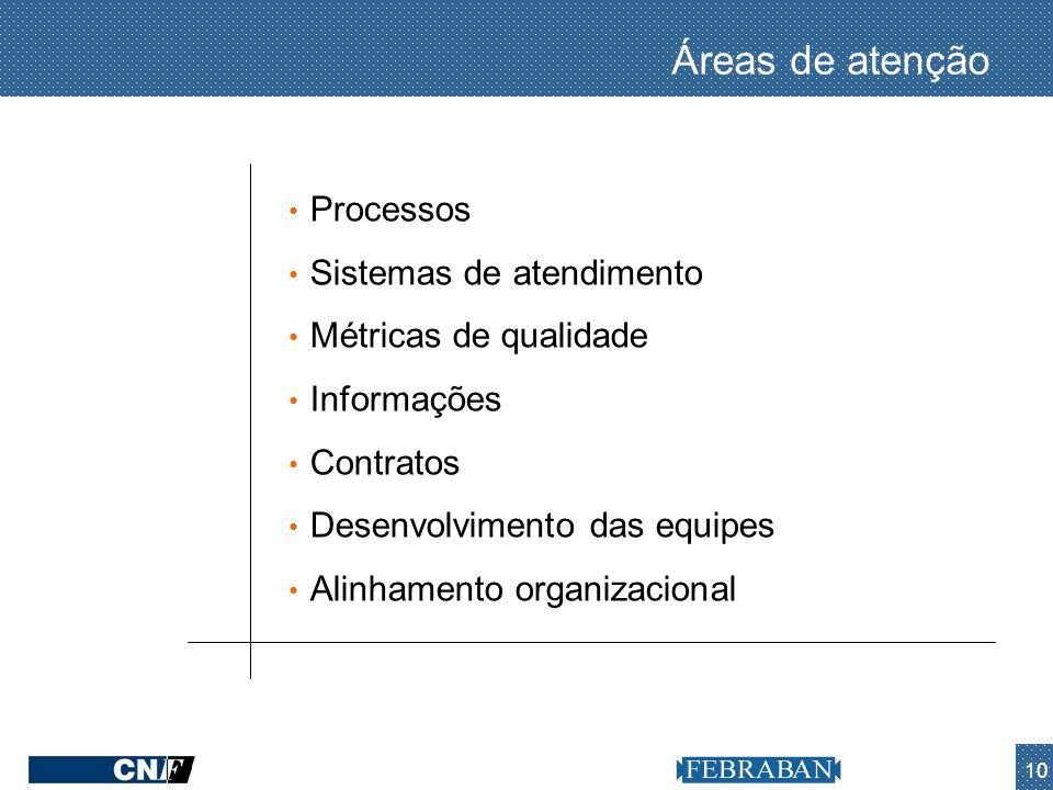 10 Áreas de atenção Processos Sistemas de atendimento Métricas de qualidade Informações Contratos Desenvolvimento das equipes Alinhamento organizacion