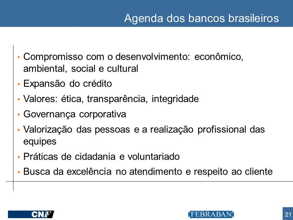 21 Agenda dos bancos brasileiros Compromisso com o desenvolvimento: econômico, ambiental, social e cultural Expansão do crédito Valores: ética, transp