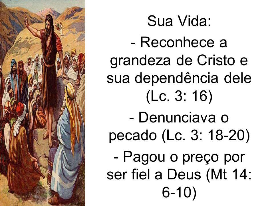 Sua Vida: - Reconhece a grandeza de Cristo e sua dependência dele (Lc. 3: 16) - Denunciava o pecado (Lc. 3: 18-20) - Pagou o preço por ser fiel a Deus