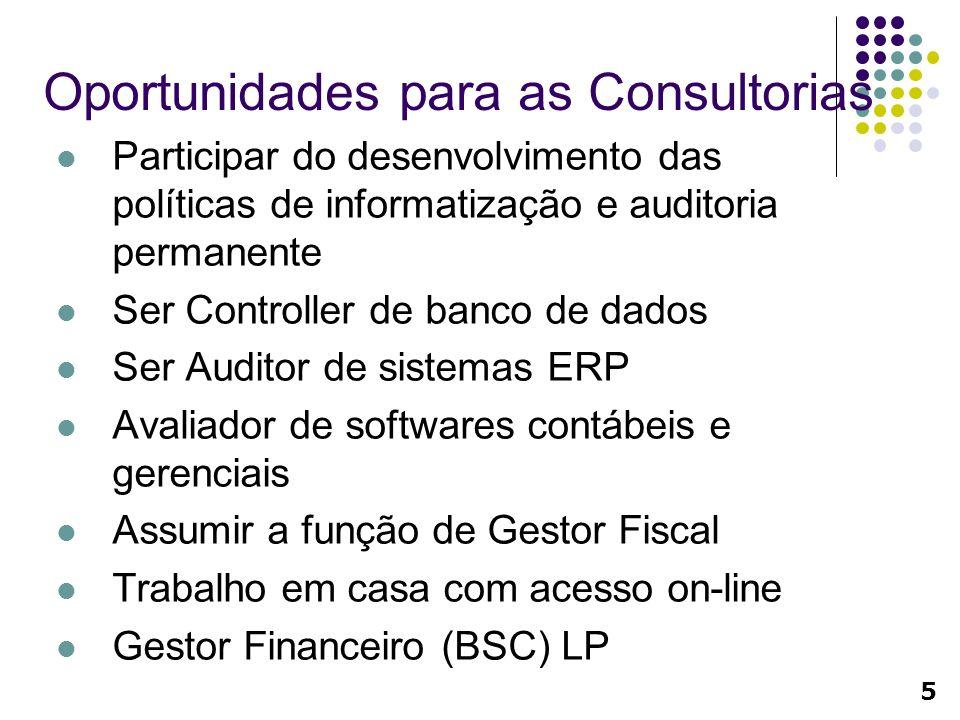 Oportunidades para as Consultorias Participar do desenvolvimento das políticas de informatização e auditoria permanente Ser Controller de banco de dad