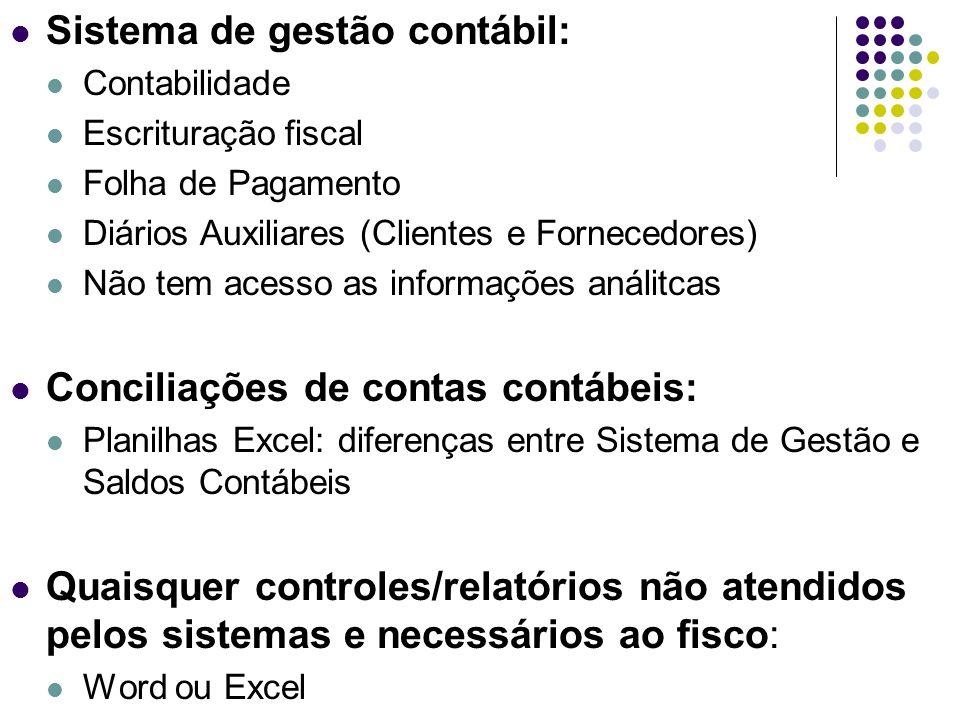 Sistema de gestão contábil: Contabilidade Escrituração fiscal Folha de Pagamento Diários Auxiliares (Clientes e Fornecedores) Não tem acesso as inform