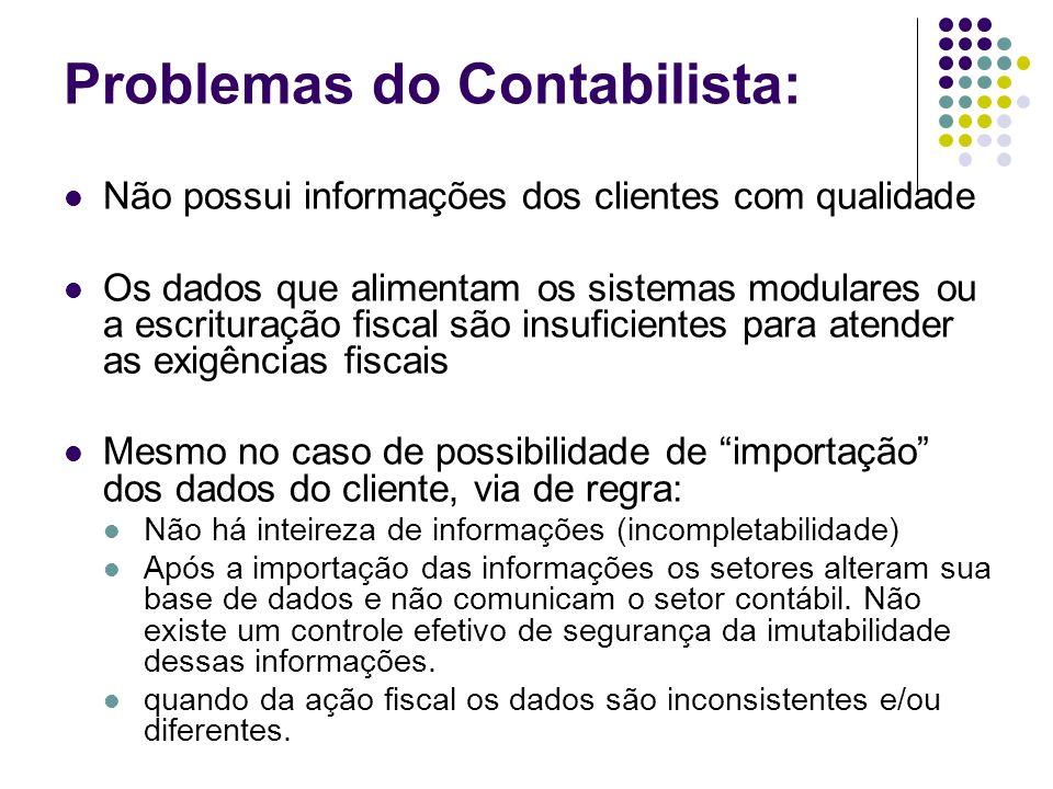 Problemas do Contabilista: Não possui informações dos clientes com qualidade Os dados que alimentam os sistemas modulares ou a escrituração fiscal são