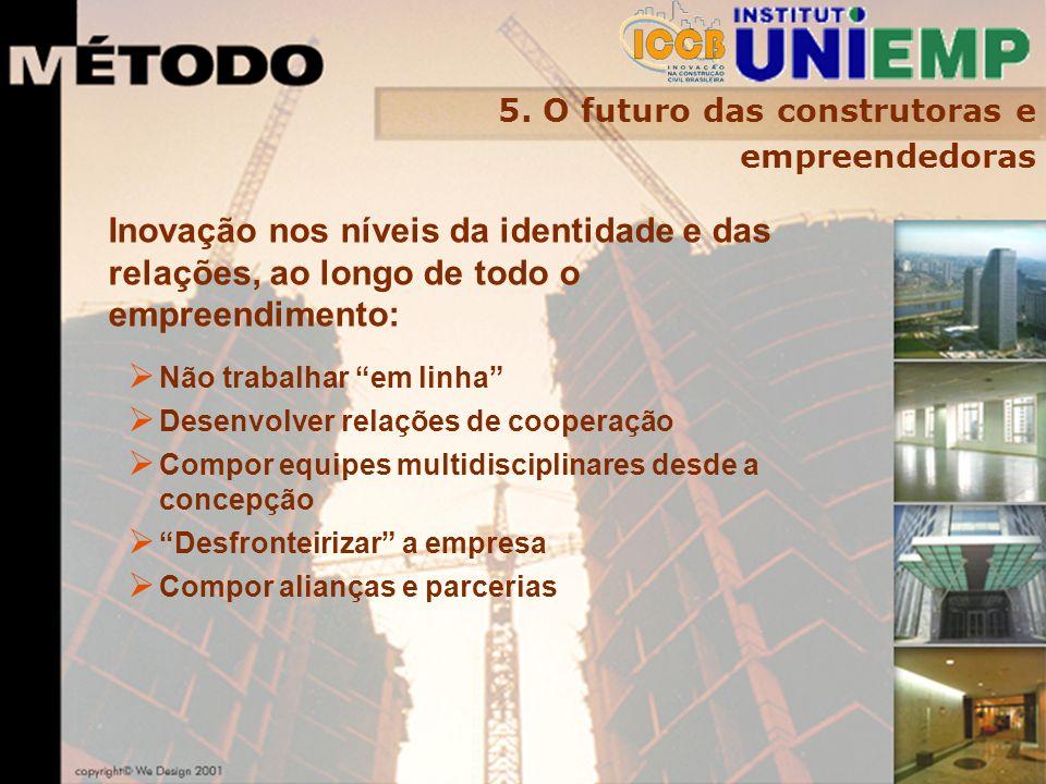 5. O futuro das construtoras e empreendedoras Inovação nos níveis da identidade e das relações, ao longo de todo o empreendimento: Não trabalhar em li