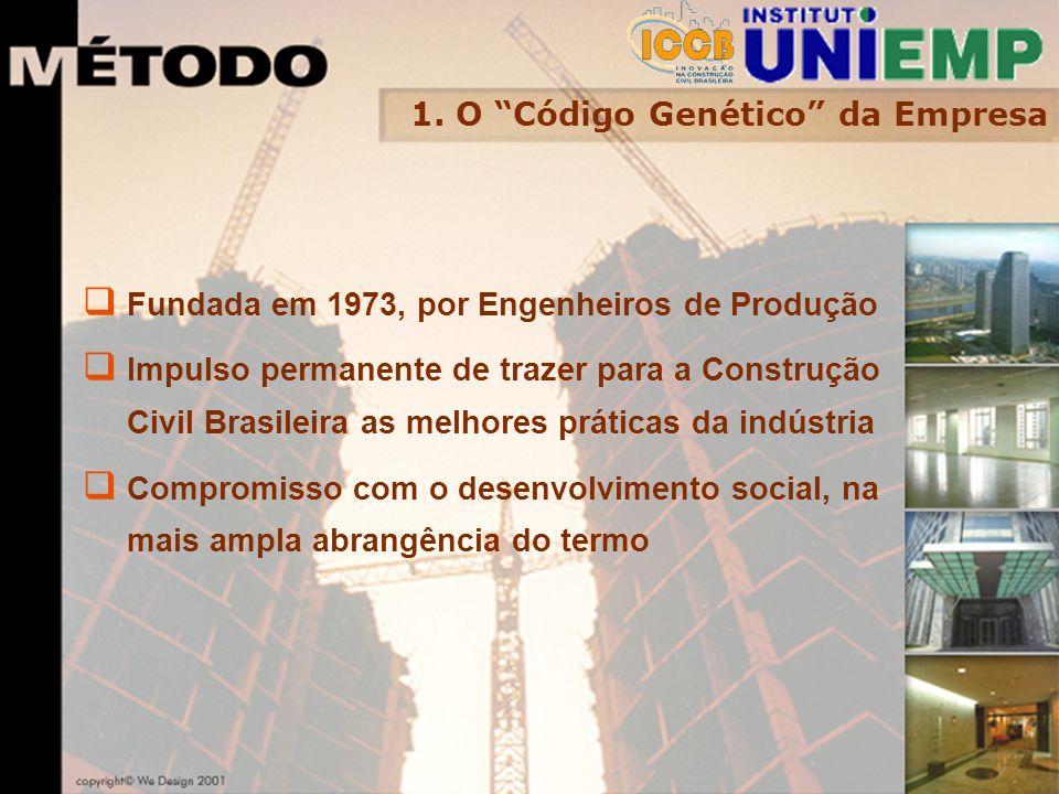 1. O Código Genético da Empresa Fundada em 1973, por Engenheiros de Produção Impulso permanente de trazer para a Construção Civil Brasileira as melhor
