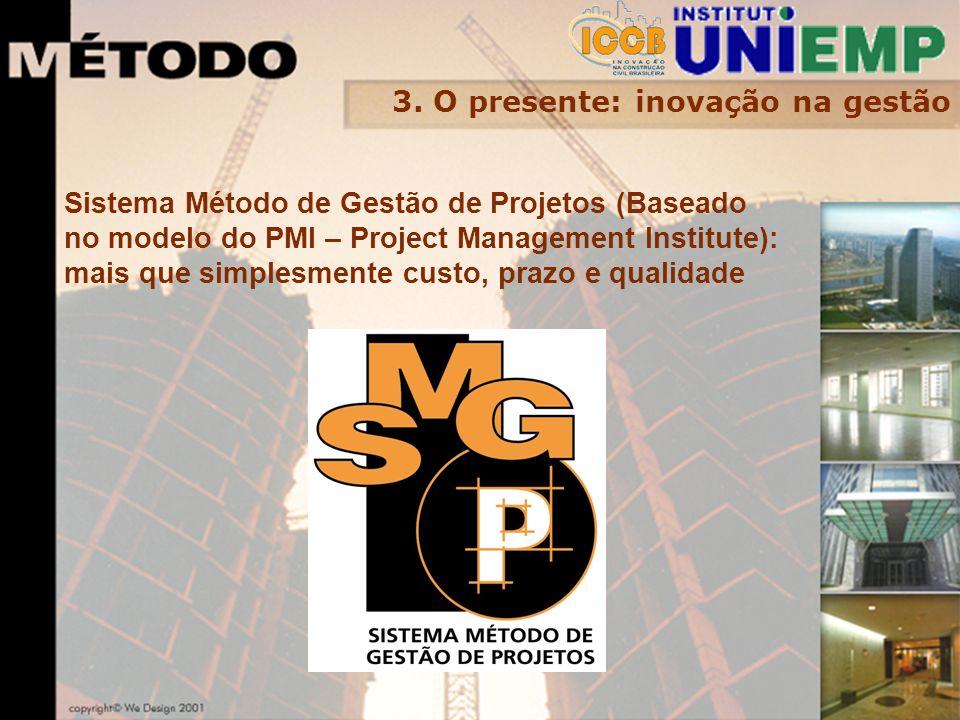 3. O presente: inovação na gestão Sistema Método de Gestão de Projetos (Baseado no modelo do PMI – Project Management Institute): mais que simplesment
