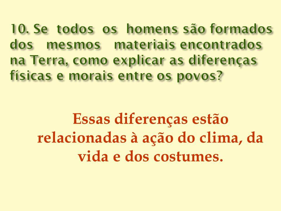 Essas diferenças estão relacionadas à ação do clima, da vida e dos costumes.