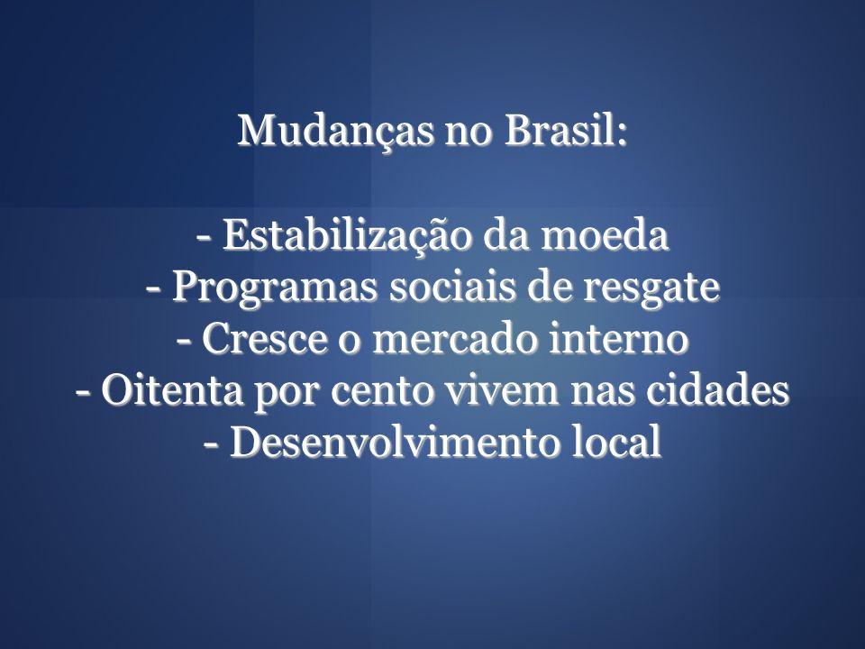 Mudanças no Brasil: - Estabilização da moeda - Programas sociais de resgate - Cresce o mercado interno - Oitenta por cento vivem nas cidades - Desenvo