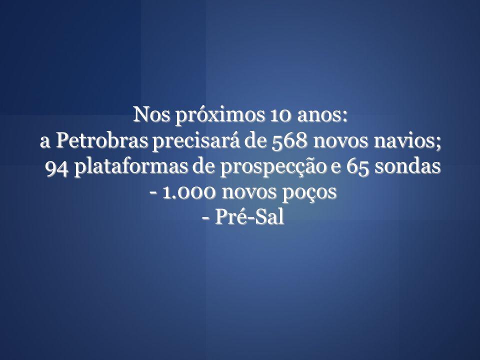 Nos próximos 10 anos: a Petrobras precisará de 568 novos navios; 94 plataformas de prospecção e 65 sondas - 1.000 novos poços - Pré-Sal
