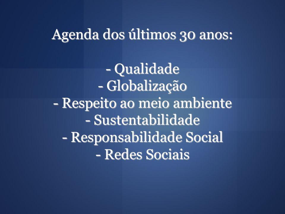 Agenda dos últimos 30 anos: - Qualidade - Globalização - Respeito ao meio ambiente - Sustentabilidade - Responsabilidade Social - Redes Sociais