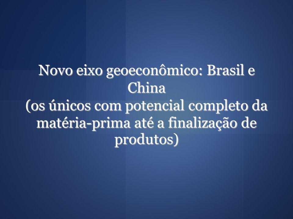 Novo eixo geoeconômico: Brasil e China (os únicos com potencial completo da matéria-prima até a finalização de produtos) Novo eixo geoeconômico: Brasi