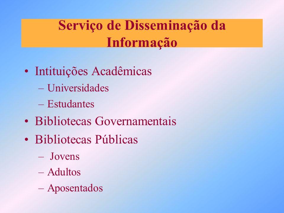 Serviço de Disseminação da Informação Intituições Acadêmicas –Universidades –Estudantes Bibliotecas Governamentais Bibliotecas Públicas – Jovens –Adul