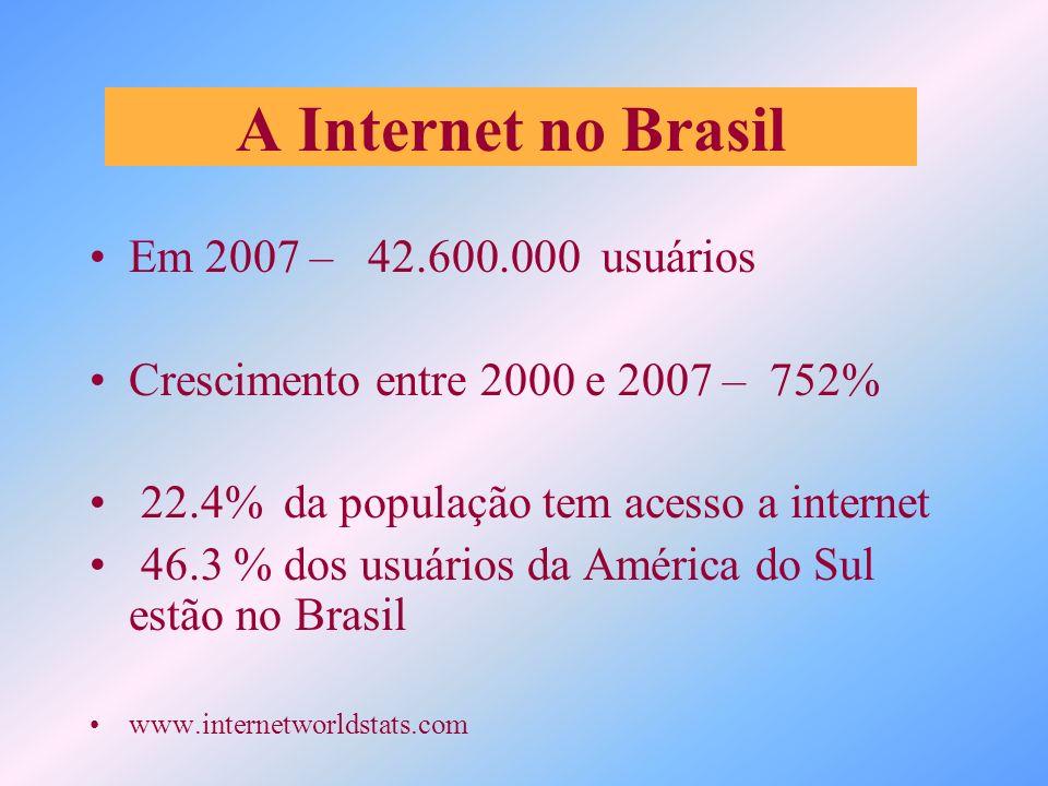 A Internet no Brasil Em 2007 – 42.600.000 usuários Crescimento entre 2000 e 2007 – 752% 22.4% da população tem acesso a internet 46.3 % dos usuários d