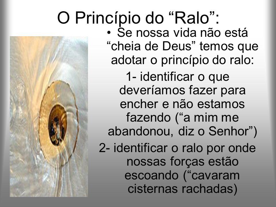 O Princípio do Ralo: Se nossa vida não está cheia de Deus temos que adotar o princípio do ralo: 1- identificar o que deveríamos fazer para encher e nã