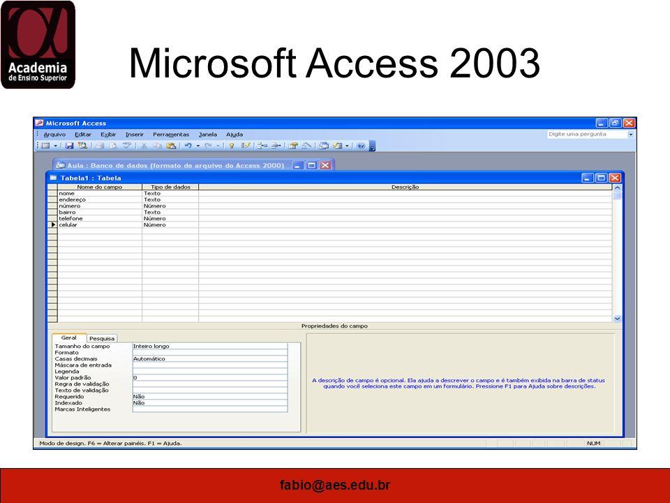 fabio@aes.edu.br Microsoft Access 2003 Definir a Mascara de Entrada para Telefones (99)9999-9999