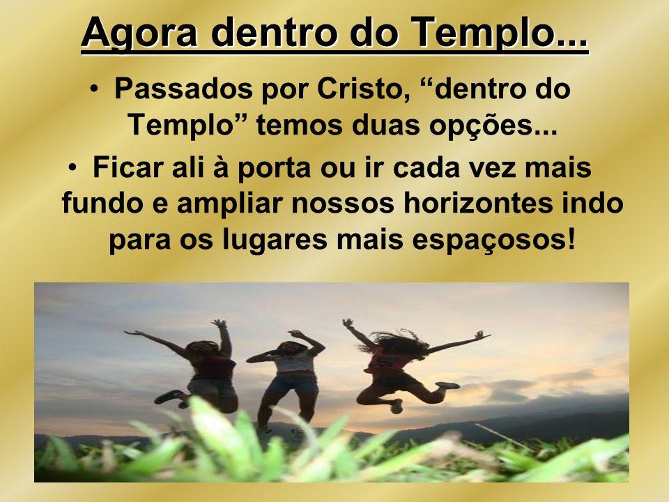 Agora dentro do Templo... Passados por Cristo, dentro do Templo temos duas opções... Ficar ali à porta ou ir cada vez mais fundo e ampliar nossos hori