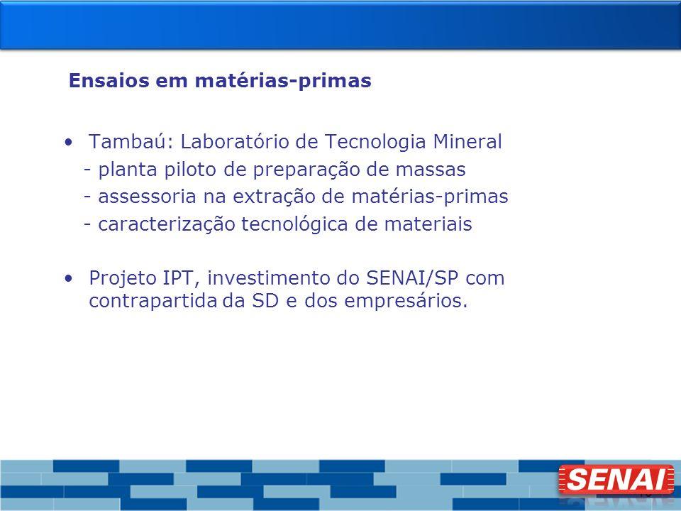10 Ensaios em matérias-primas Tambaú: Laboratório de Tecnologia Mineral - planta piloto de preparação de massas - assessoria na extração de matérias-p
