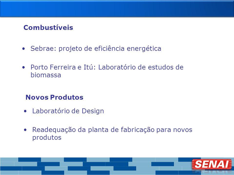 11 Combustíveis Sebrae: projeto de eficiência energética Porto Ferreira e Itú: Laboratório de estudos de biomassa Novos Produtos Laboratório de Design