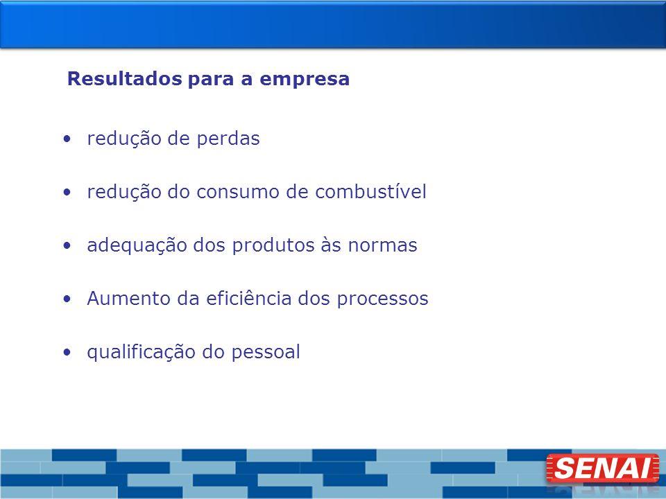 7 Resultados para a empresa redução de perdas redução do consumo de combustível adequação dos produtos às normas Aumento da eficiência dos processos q
