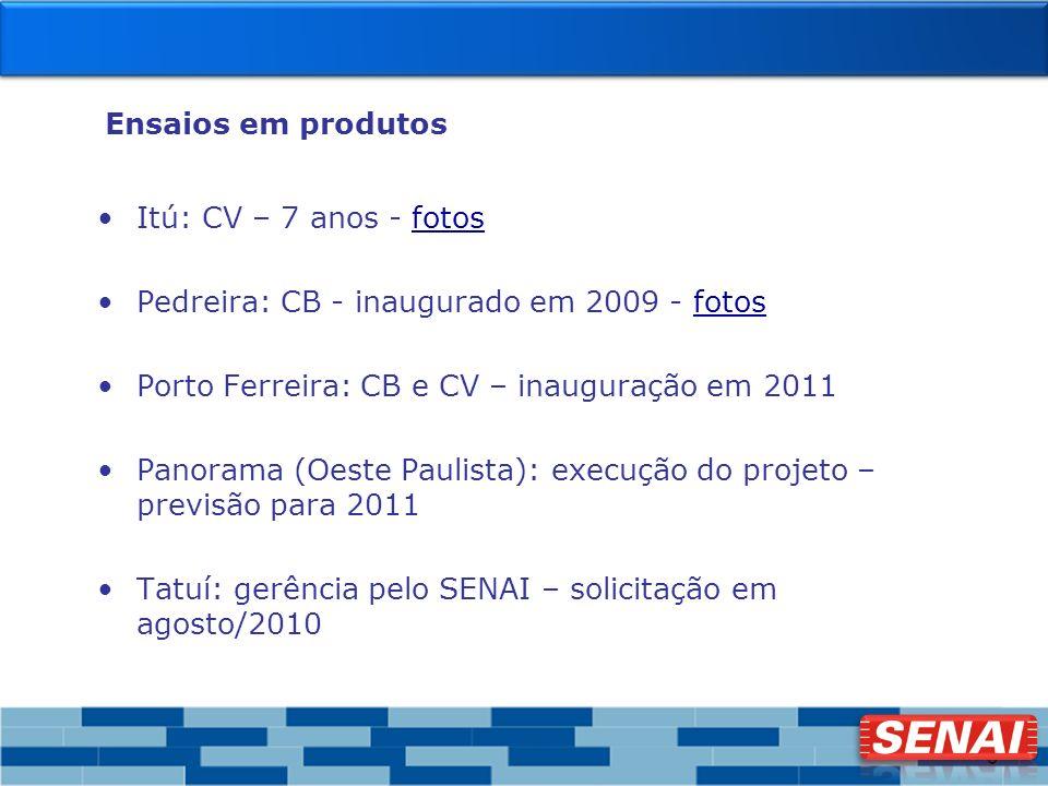 9 Ensaios em produtos Itú: CV – 7 anos - fotosfotos Pedreira: CB - inaugurado em 2009 - fotosfotos Porto Ferreira: CB e CV – inauguração em 2011 Panor