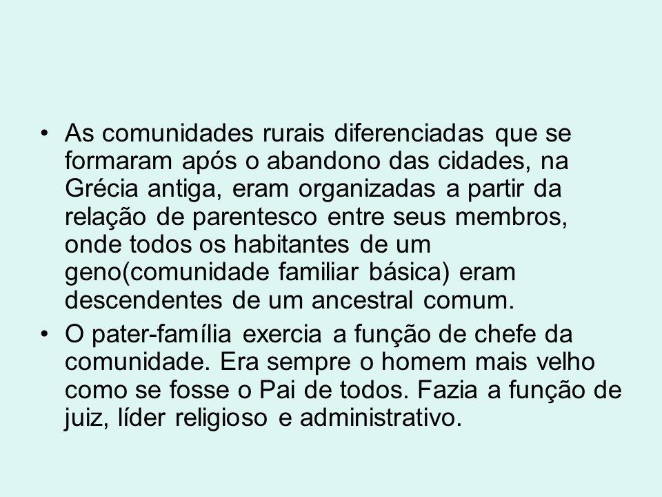As comunidades rurais diferenciadas que se formaram após o abandono das cidades, na Grécia antiga, eram organizadas a partir da relação de parentesco