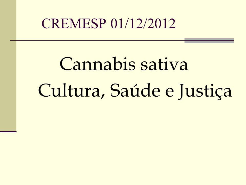CREMESP 01/12/2012 Cannabis sativa Cultura, Saúde e Justiça