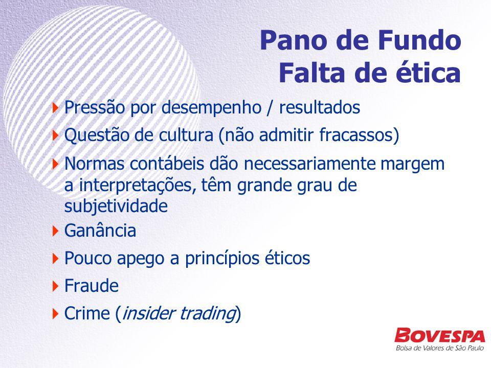 Lá e cá Maioria das fraudes nos EUA visou a melhorar resultados e obter vantagens –pessoais, ou –no valor de mercado da empresa SISTÊMICA Diferente das fraudes corporativas mais comuns no Brasil, como: –corrupção –espionagem –furto de informações INDIVIDUAL