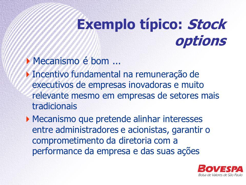 Exemplo típico: Stock options...