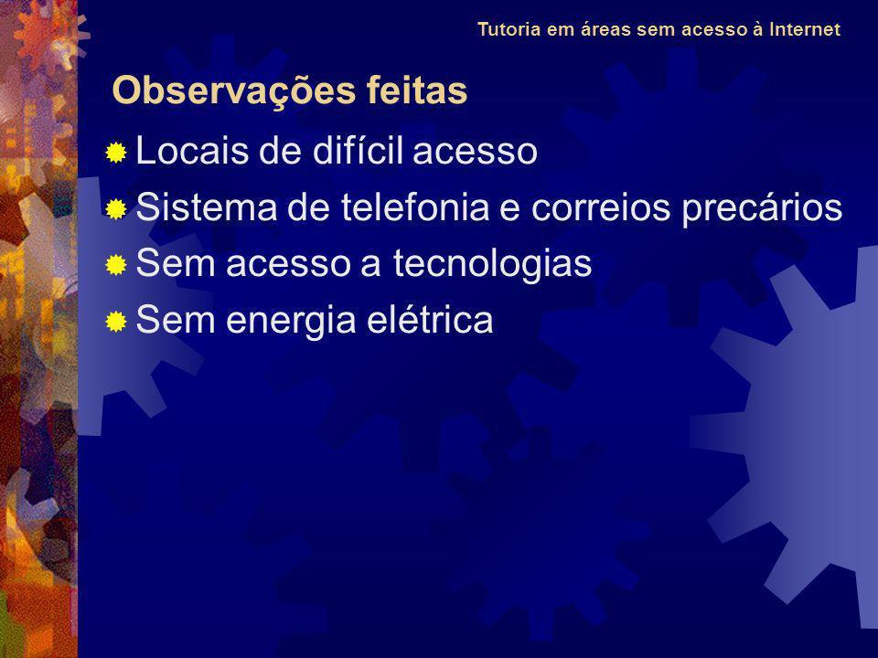 Tutoria em áreas sem acesso à Internet Locais de difícil acesso Sistema de telefonia e correios precários Sem acesso a tecnologias Sem energia elétrica Observações feitas