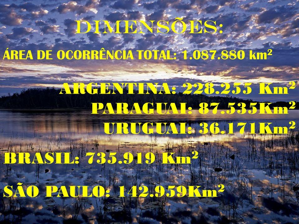 DIMENSÕES: ÁREA DE OCORRÊNCIA TOTAL: 1.087.880 km 2 ARGENTINA: 228.255 Km 2 PARAGUAI: 87.535Km 2 URUGUAI: 36.171Km 2 BRASIL: 735.919 Km 2 SÃO PAULO: 1
