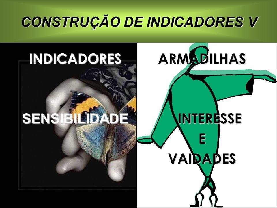 INDICADORESSENSIBILIDADEARMADILHAS INTERESSE INTERESSEEVAIDADES CONSTRUÇÃO DE INDICADORES V