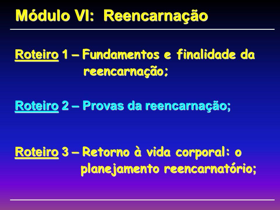 Roteiro 1 – Fundamentos e finalidade da reencarnação; Módulo VI: Reencarnação Roteiro 2 – Provas da reencarnação; Roteiro 3 – Retorno à vida corporal: o planejamento reencarnatório ;