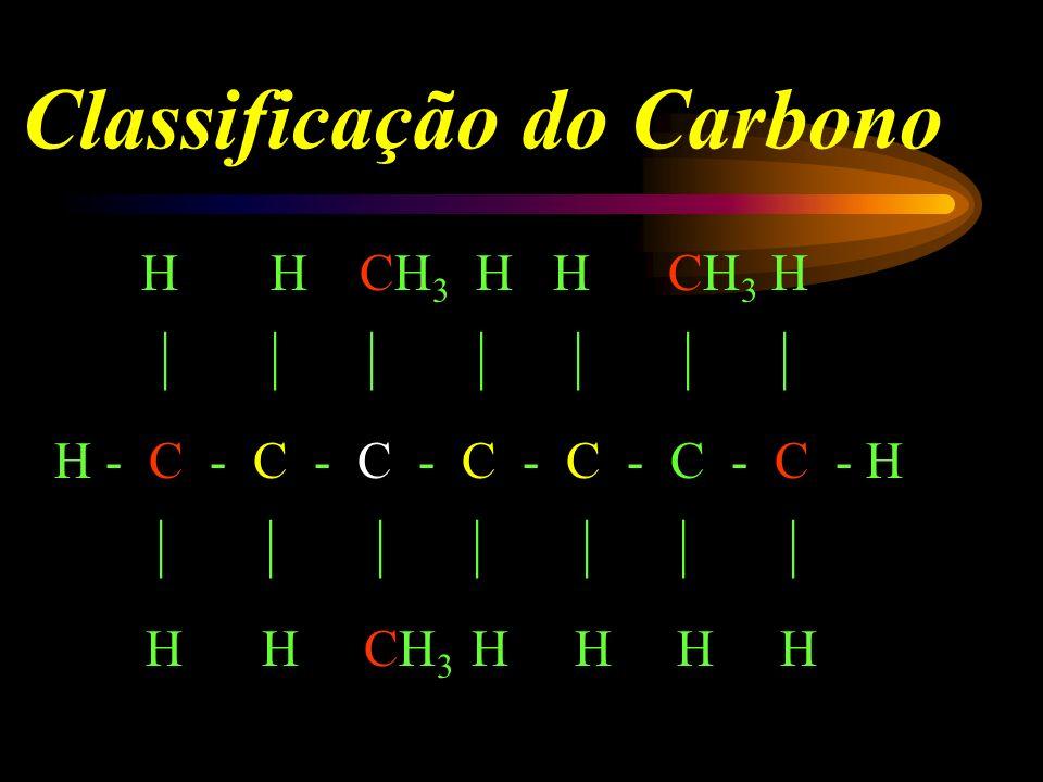 CLASSIFICAÇÃO DOS ÁTOMOS DE CARBONO Carbono primário: ligado um outro átomo de carbono. Carbono secundário: ligado a dois outros carbonos. Carbono ter